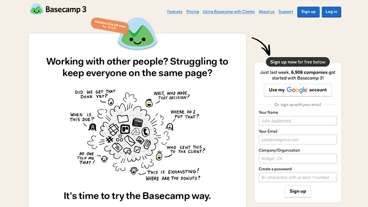 Basecamp for oversee projects