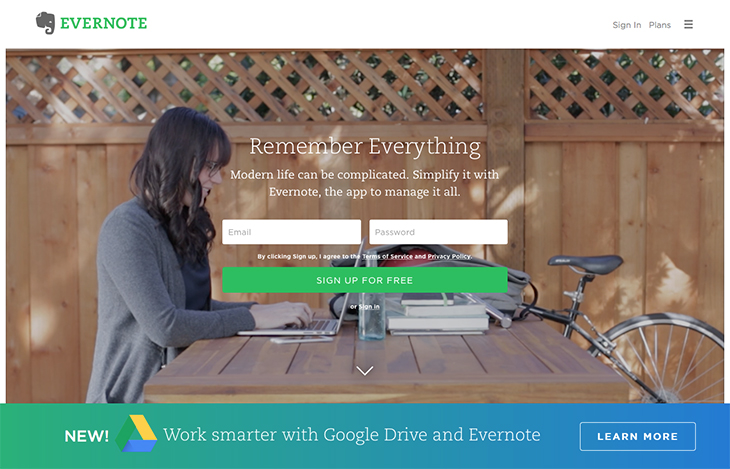 Evernote app to arrange your content